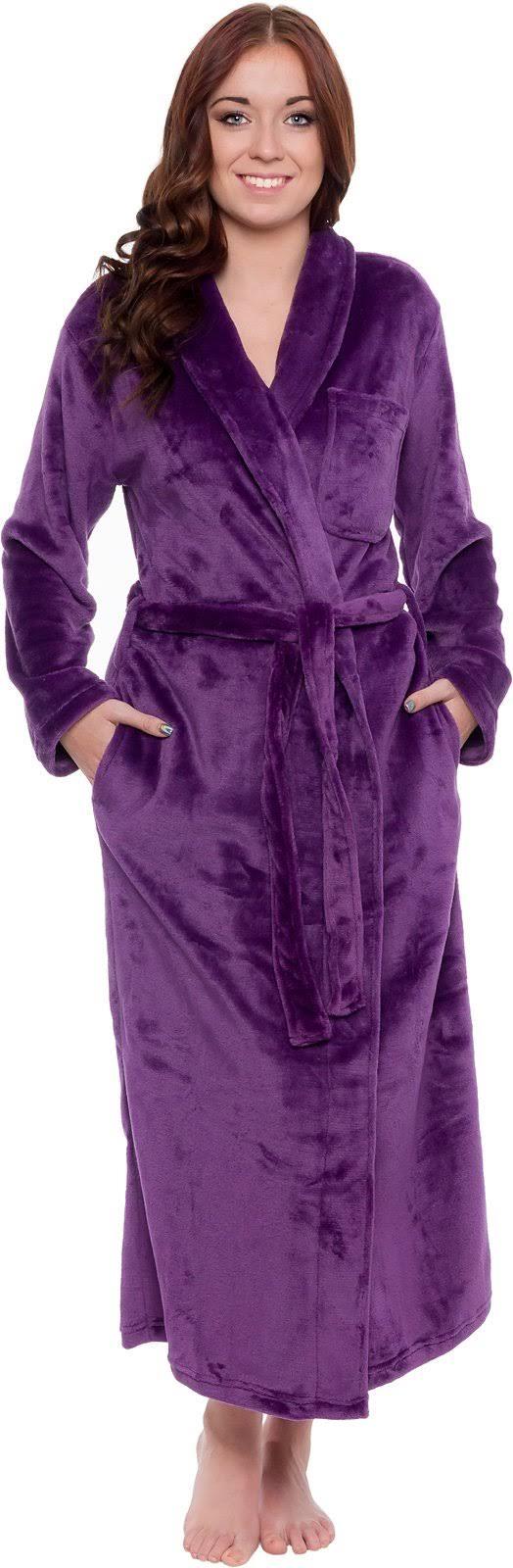Silver Kimono W Wrap Plush Lilly Mujer Long Tie Albornoz Púrpura Womens Belt Loungewear OwIgOqr