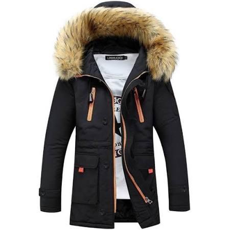 Männer Parkas Herren Dick Kapuze Pelzkragen Costbuys S Mit Casual Markenkleidung Lange Winter Jacken Männliche Armee Mäntel Schwarz qFCgw