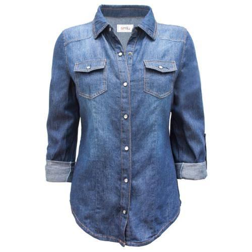 Camisa Azul Con Mezclilla Y De Mangas Enrollables Regulares Detalle Bolsillo rpEpv