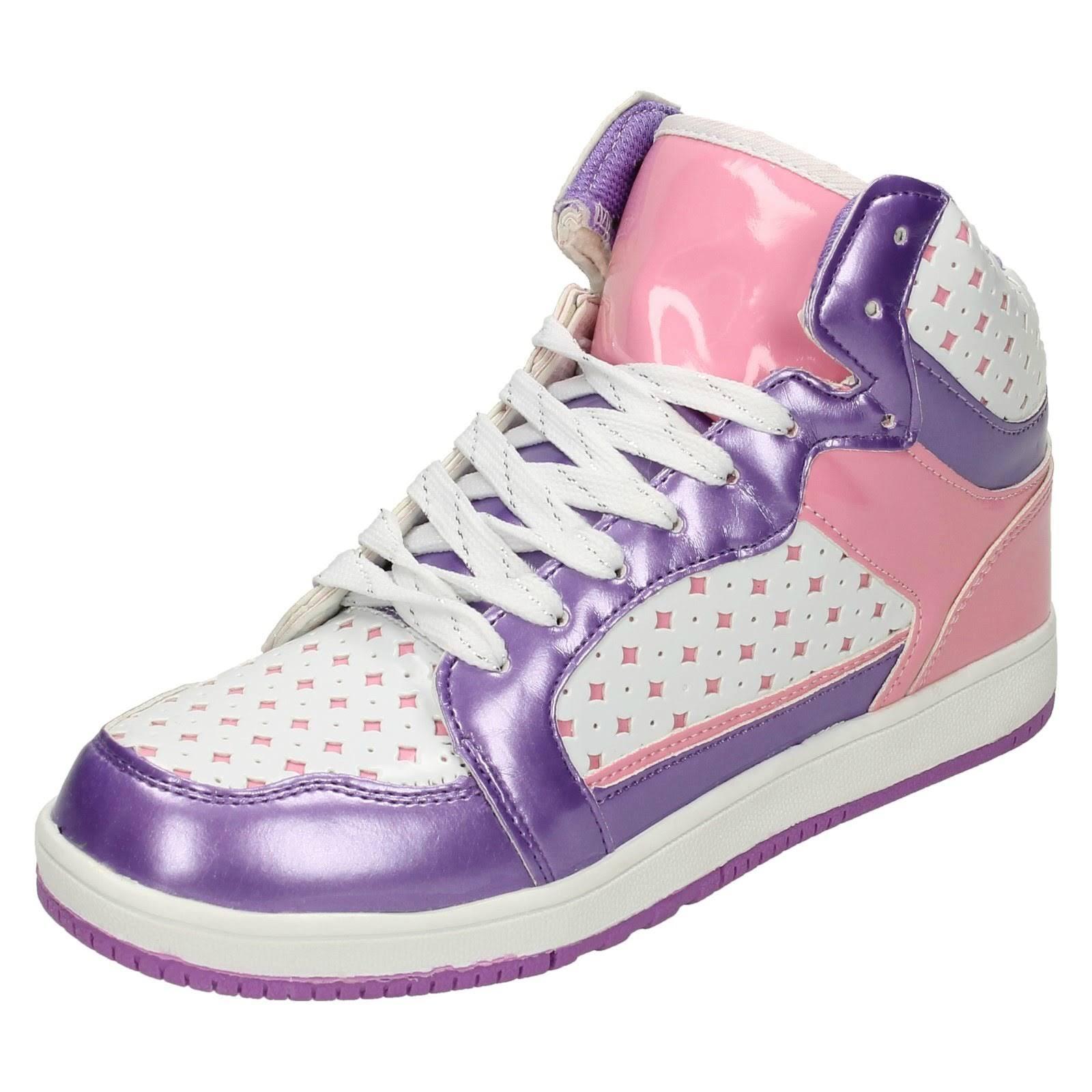 (UK 13 Child, White/Metallic/Pink (White)) Girls Airtech Hi Top Trainers Rebel