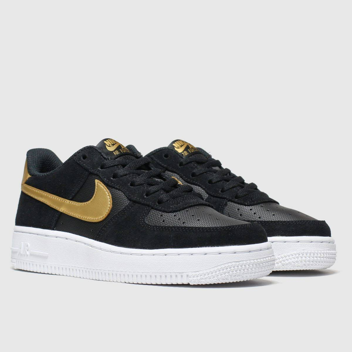 Nike Black & Gold Air Force 1 LV8 Trainers Youth  glA0GDg