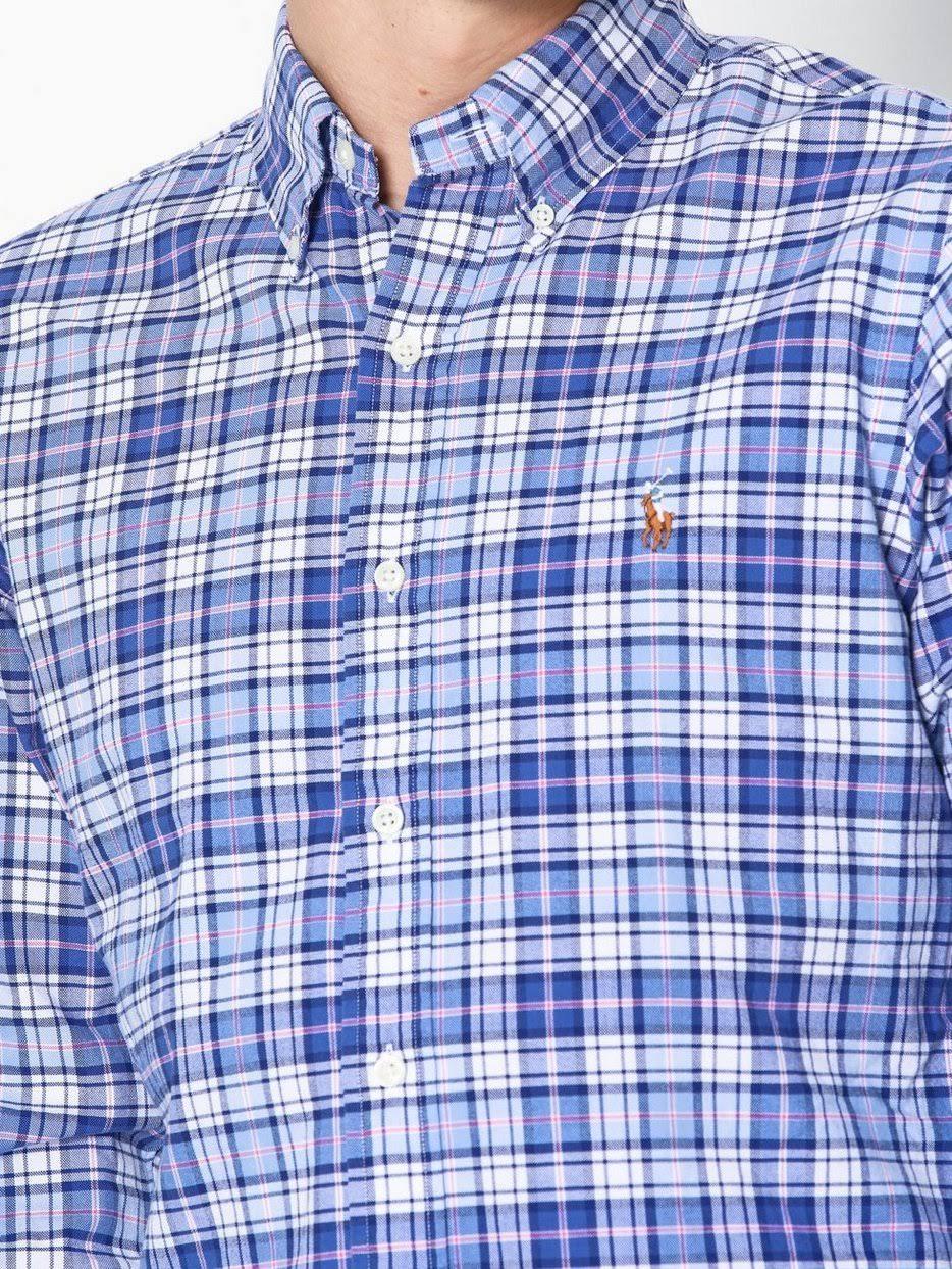 lunghe Polo Skjortor Ralph a Lauren Camicia maniche Blue sportiva OXiuPkZ