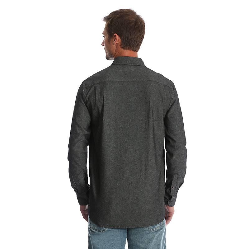 Pequeño Para Larga Wrangler Hombre Camisa Negro tamaño De Manga Denim Sarga IXxqgzZ