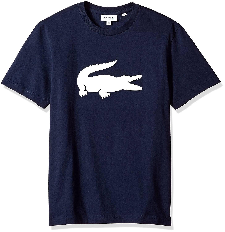 Weiß Aus In Krokodil Mit Lacoste baumwolle Schwarz Übergröße Herren Rundhalsausschnitt shirt T X7qq0Pax