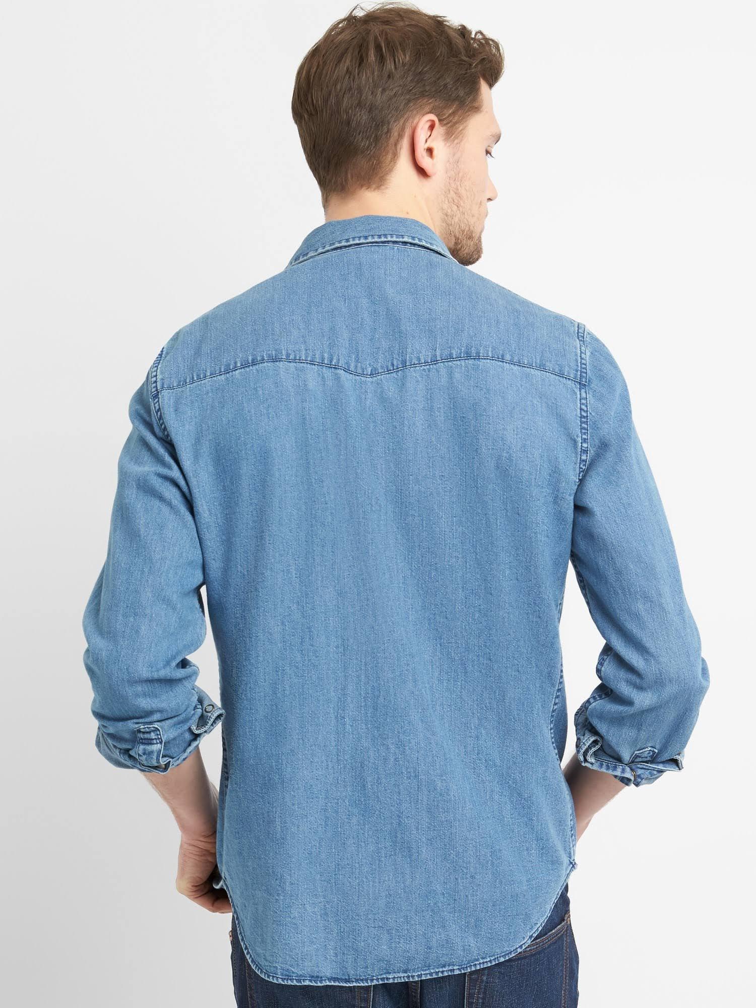 Authentic In Herren S Fit Slim Gap Westernhemd Medium Denim Indigo Größe qZtt10