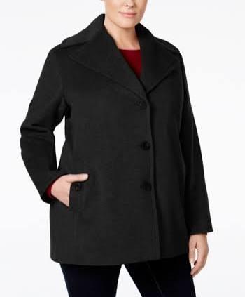 Peacoat Calvin Klein Plus Schwarz Einreiher 2x Size wSPHxqI