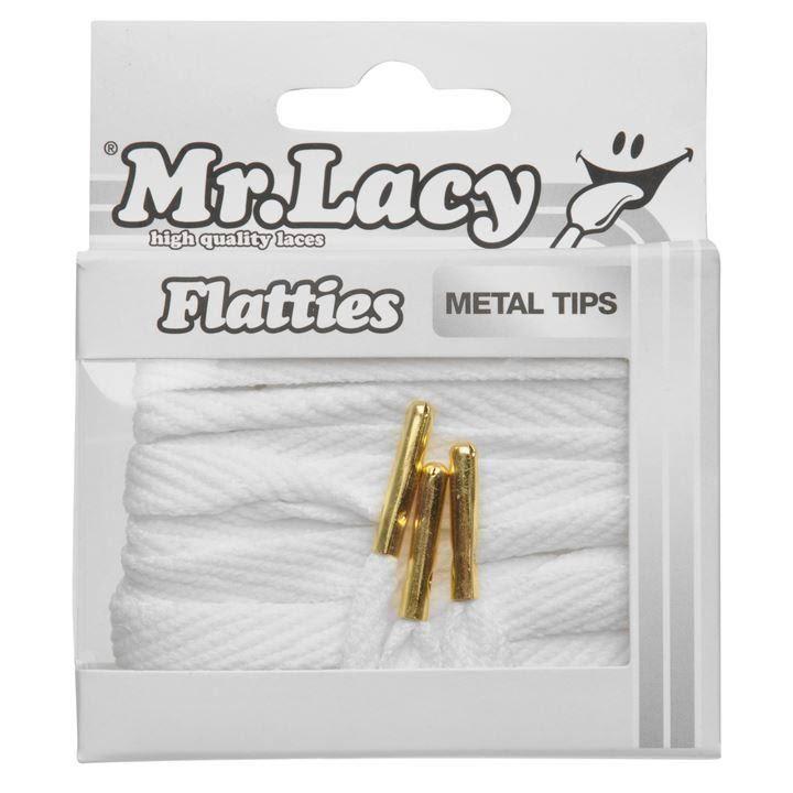Mr Lacy Flatties Metal - White/Gold 130