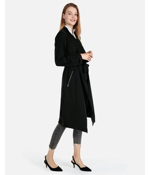 Coat Soft Trench Mujer M Zip Pocket Express Negro gqp1Hz66