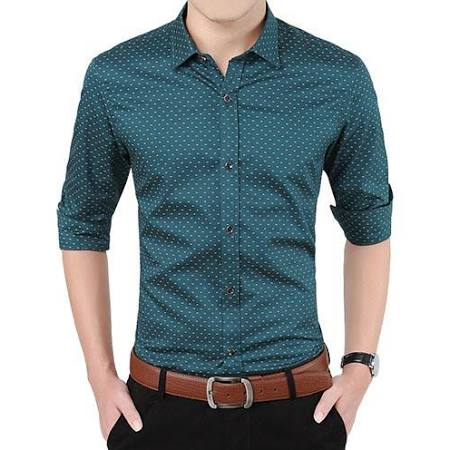 Costbuys Hombres Camisa Tamaño De Social 5xl Casual Verde Plus Slim Fit Moda Otoño Larga Militar Ropa M Lunares M Manga Para IqwxrIZX