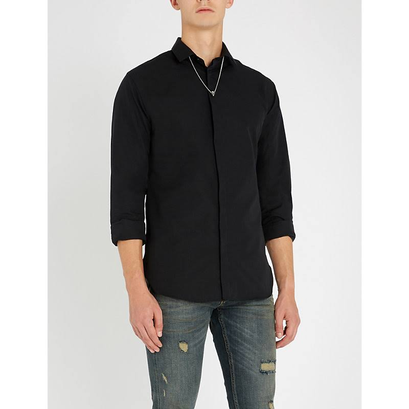 Con Kooples Negro The Botones Slim Faille Camisa Fit wcHqT