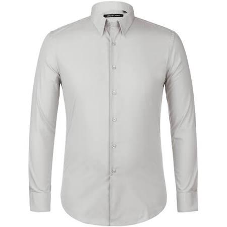 Fit 35 Slim Manga Hombres Grey Algodón Camisas 34 Vestir Para Verno De Larga L 16 q6wR0