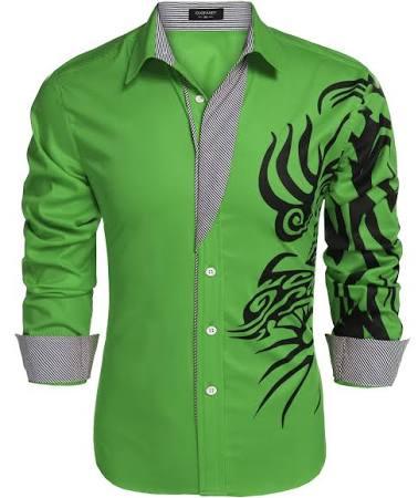 Estampado Hombre De Casuales Camisas Con Larga Moda Coofandy Abotonada Manga Camisa Vestir wdIxXqZaZ