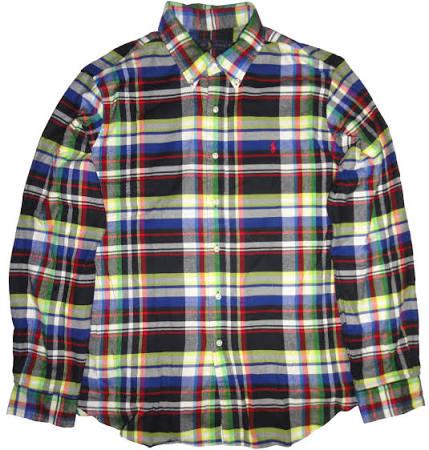 Para Larga Verdes De Camisa Polo Cuadros Franela Ralph Lauren Hombre Manga UA0Wqawf