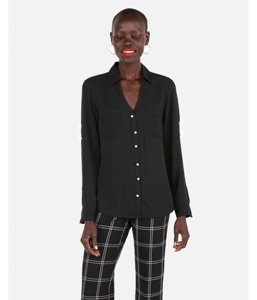Portofino Pearl Camisa Button Slim Negro Xs Mujer q06CxEw