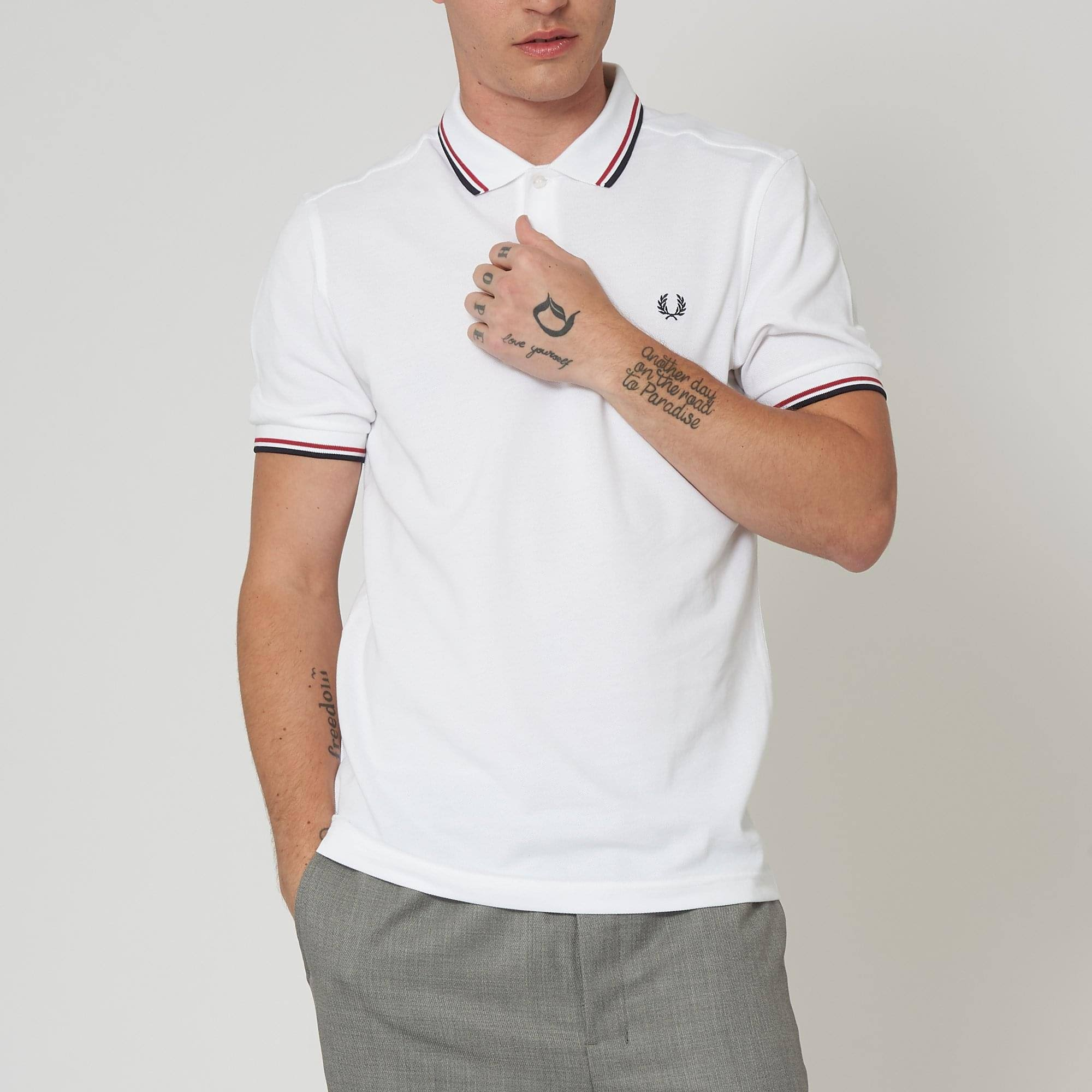 Wit Fred Tipped T Twin Perry Polo shirt Yy6f7bgv