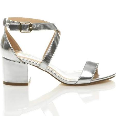 Ajvani Womens Mid Low Block Heel Peep Toe Ankle Strap Strappy Party Sandals Silver UK 7 / EU 40 / US 9  3aGsVT