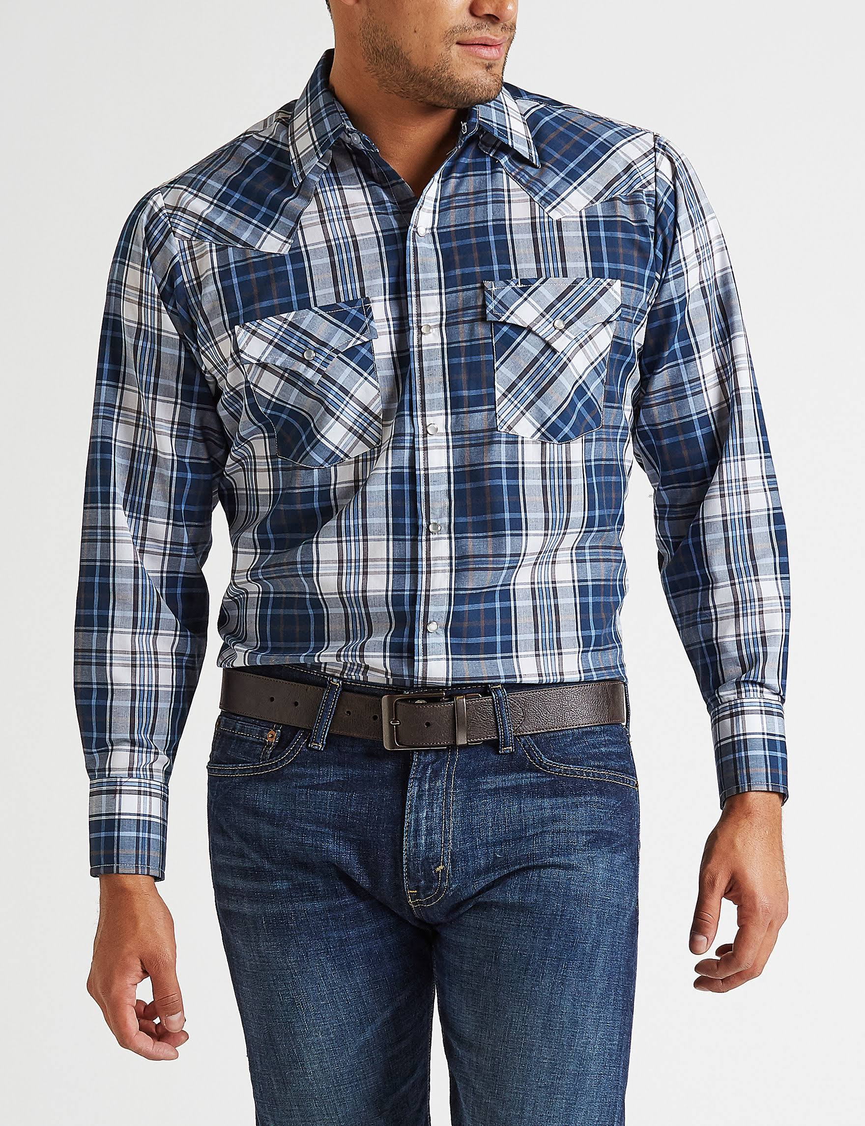 Cattleman Tiendas Ely Shirt Las Western Plaid Stage En Size Woven S Blue drIavxrqw