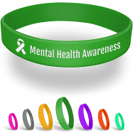 Custom Mental Health Wristbands - Awareness (5 ct, Green)