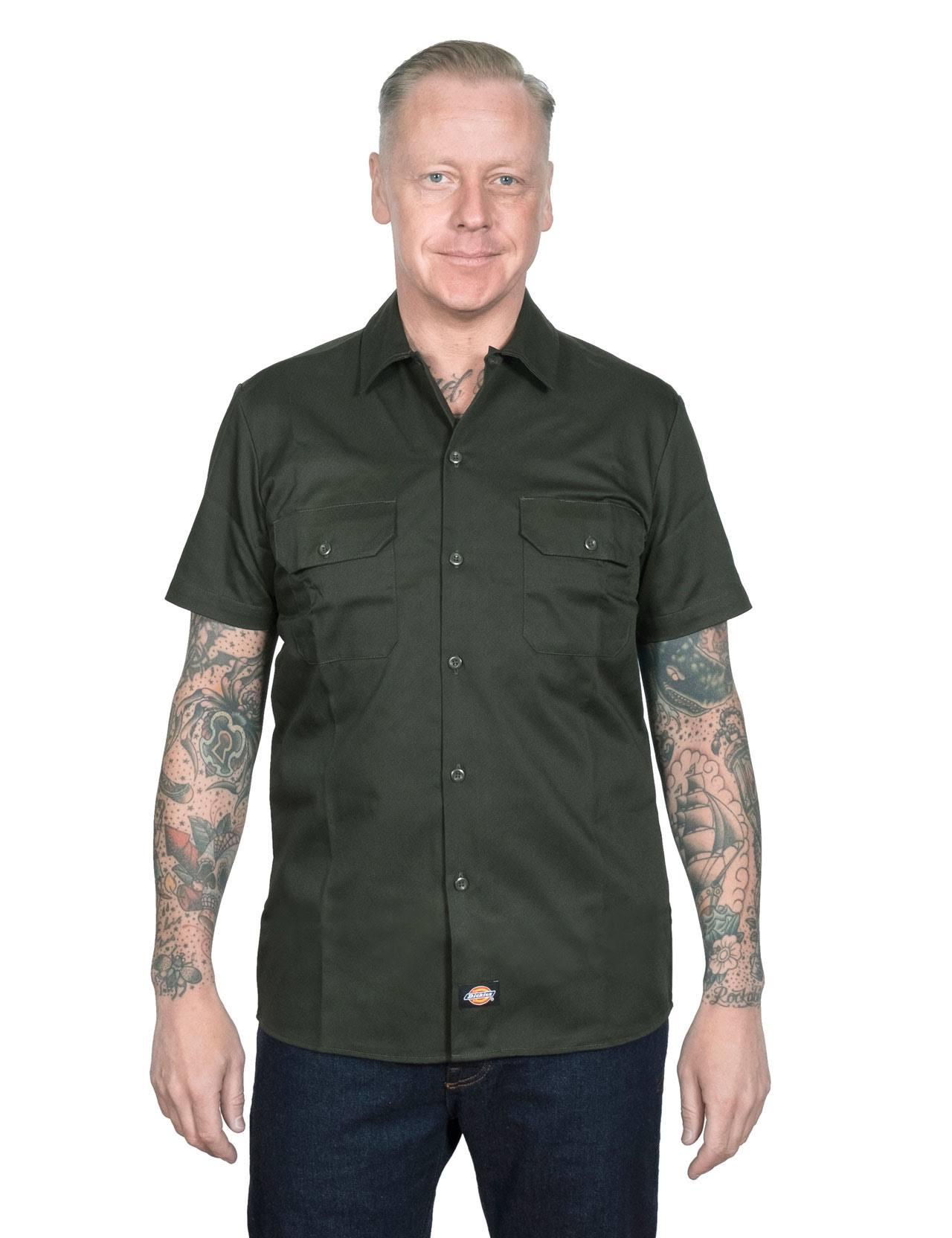 Dickies Corta Verde Delgada Camisa Xxxl Trabajo Oliva Manga De vr4vwqa