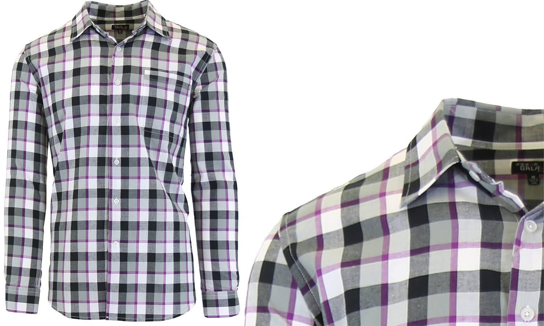 Escocés Para Pecho Galaxy Black Camisas Corte Harvic Bolsillo El Con Cotton Hombres En Purple De Slim By S Vestir twtpxq01