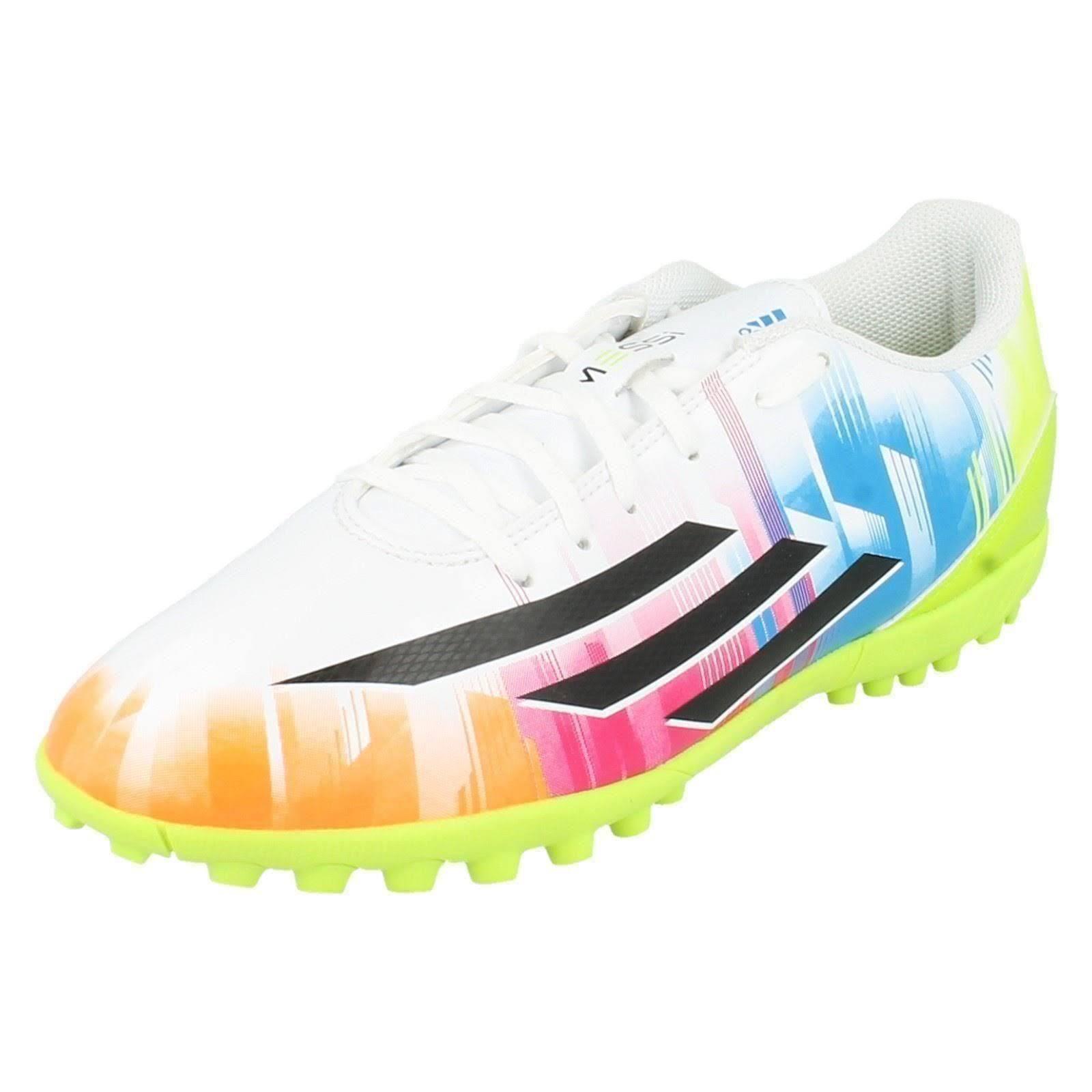 (UK 10, RunWht/ Black1/ Solsli) Mens Adidas Trainers F5 TRX TF Messi