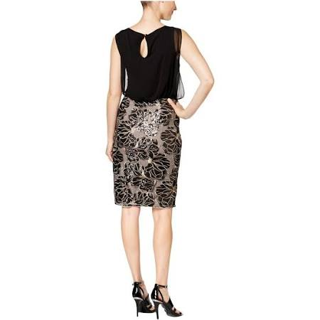 Para Calvin Casual Klein Cd6bdv3y Lentejuelas Mujer Vestido Con Gasa De aa0xr1q