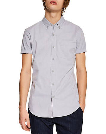 Gris Hombre Topman S Talla Abotonada Oxford Camisa Para wtqXp1O