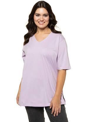 En À Manches Lavande Popken Courtes Col 22 Et Coton V T 20 shirt Basique Taille taille Grande De Lavande Ulla 645w7qx8