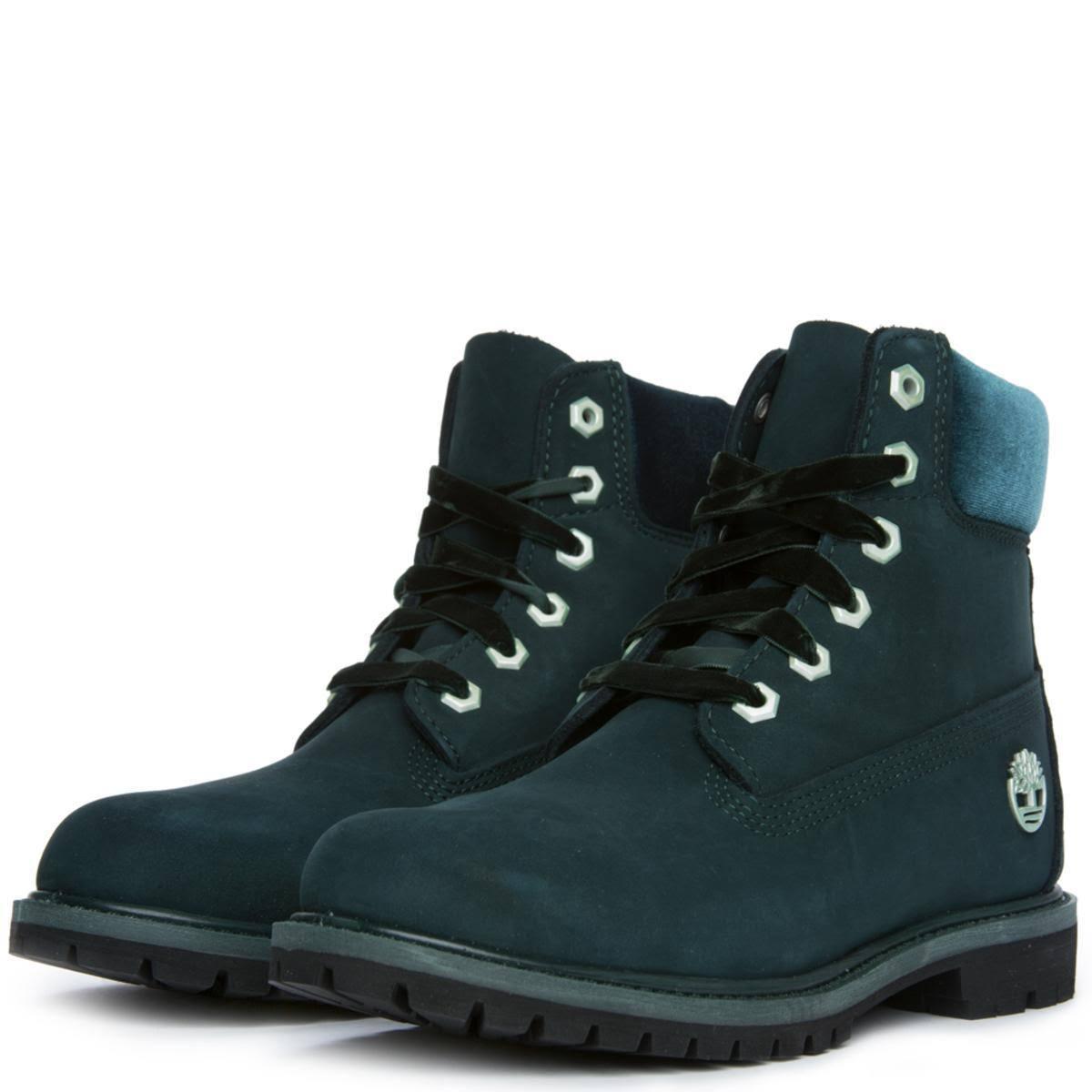 Double Sole Velvet Timberland Women Premium Boots Sz5 5 6inch verde impermeabile lJTK3F1c