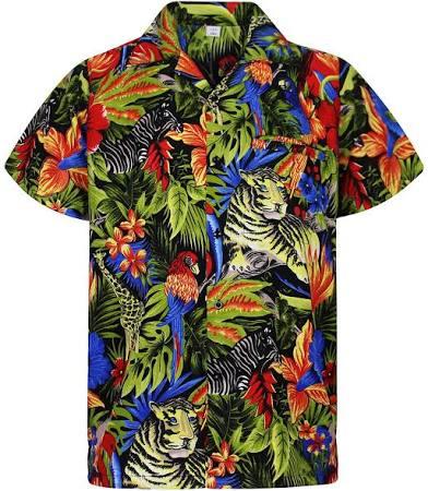 Hawaiana La V Negro Playa Funky Hombres Shorts h Camisa Impresión Flores Delantera Selva En o Cosecha Parte wx8grnHUx