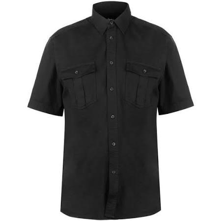 Para Hombre De Negro Cardin Pierre S Corta Tamaño Manga Camisa SxO7ZnZ