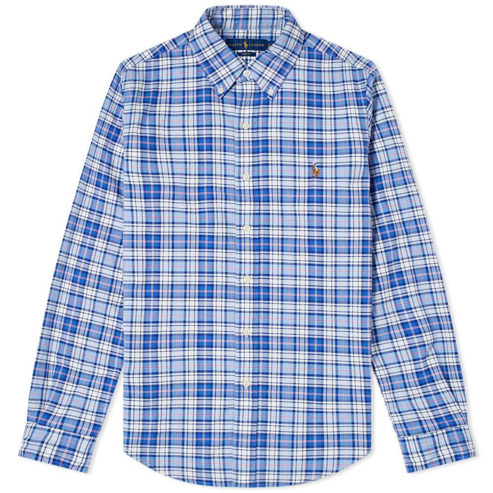 Polo Salmón Y Cuadros A Ralph Camisa Azul De Lauren qc8q7pSAB