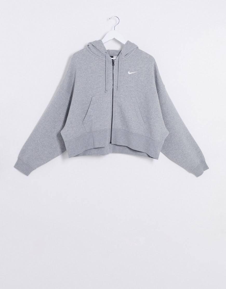Womens Nike Essential Fleece Oversized Zip Through Hoody - Grey