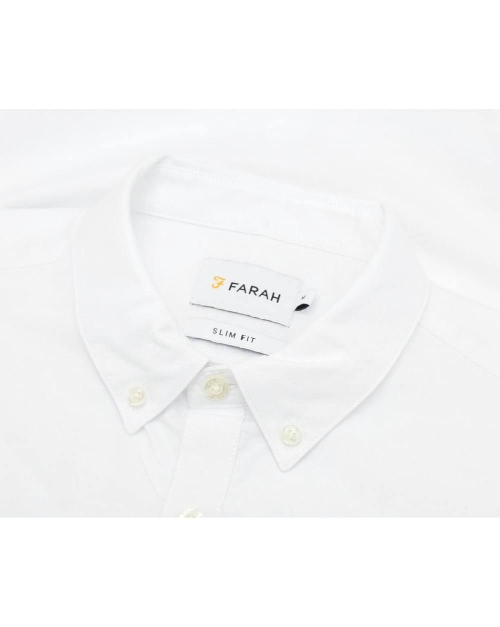 Farah Blanco Fit En S Talla Vintage Brewer Slim Camisa Fa1qUwx