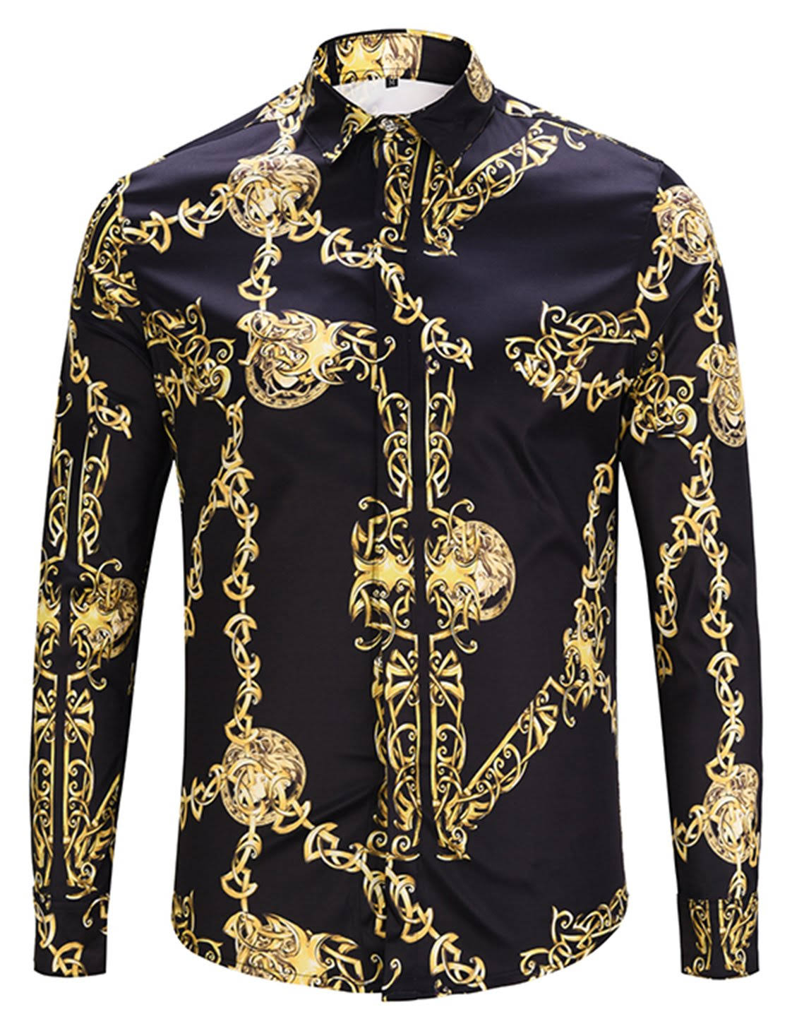 Design Langarm Pizoff Herren Luxus Shirt Dress Print pqxtB