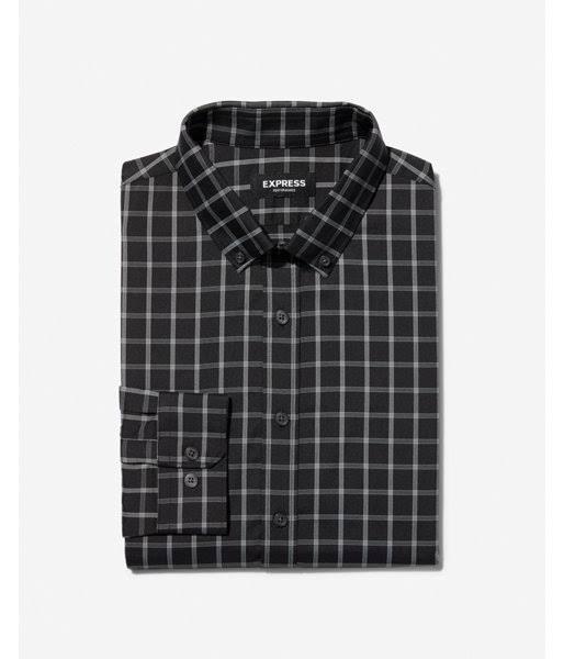 down Hombres Las Slim Xl Plaid Button Negro Performance Camisa Vestir Resistente Arrugas A De 7qESpqHza