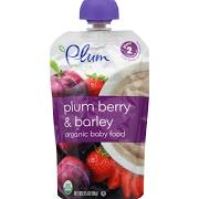 Plum Organics Baby Food, Plum Berry & Barley, Stage 2 (6+ Months) - 3.5 oz pouch