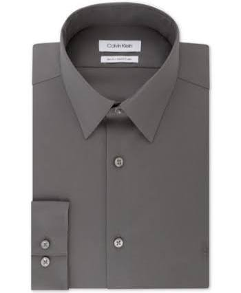 16 Cuello 5 Con 35 Macy's Ajustado Los Hombres Creada 34 Ajuste Elástico Logo De Vestir Liso Gris Calvin Y Klein Para Camisa UqxIw1H0