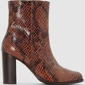 Boots cuir effet python (marron), Femme, Taille: 39