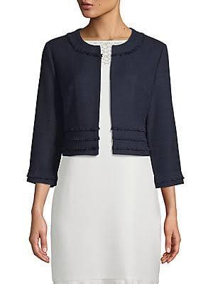 Lagerfeld fransenjacke Damen Kurze Blau Tweed Paris Karl Klein gwpTqIdgx
