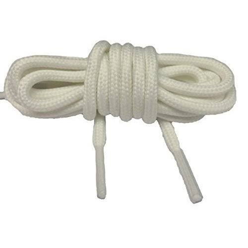 2 Pairs of Round White 60cm Shoe / Boot Laces 4mm Thickness 4 Eyelets