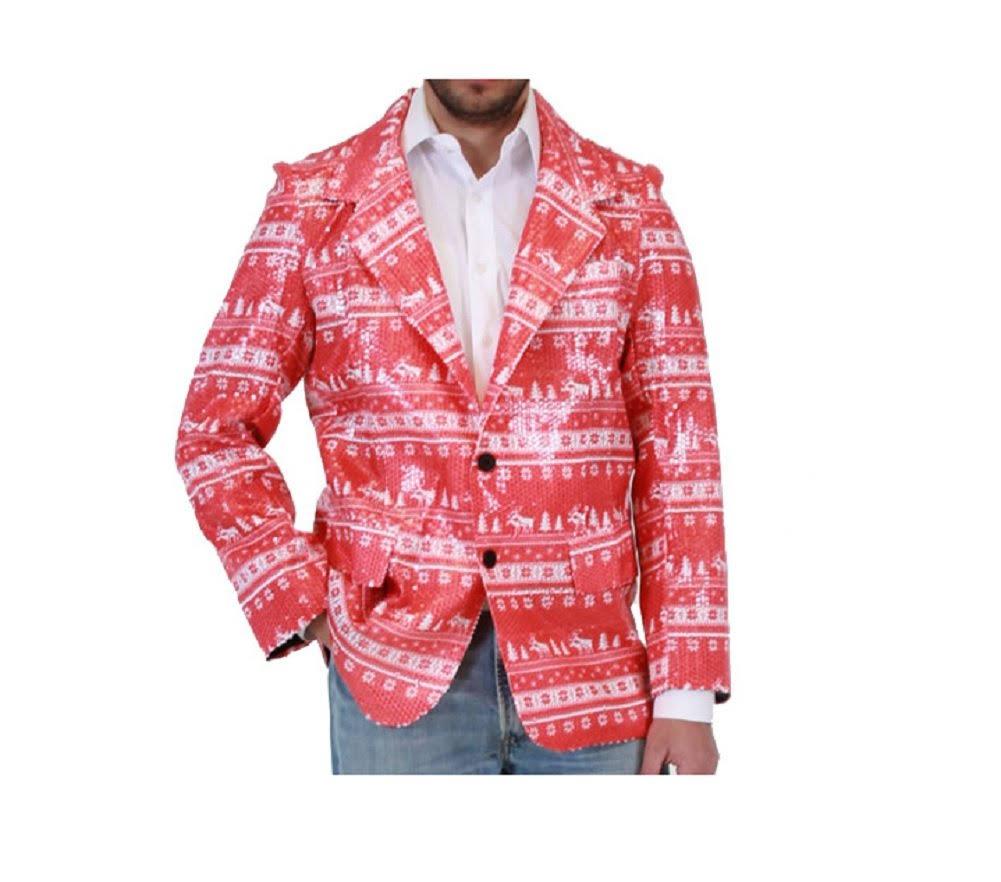 Rojo Traje Chaqueta Feo M Retazos Navidad De Lentejuelas S Con Renos 88rW5wEq