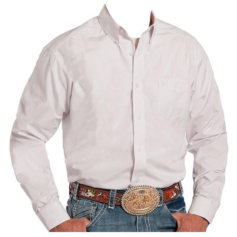 Hombre Botón Western 03 0025 Wh 0366 L Sólido Blanco Shirt S Roper 001 aES4wq4