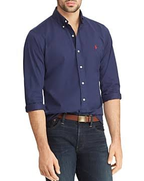 Polo Camisa Botones Ajustada Lauren Sarga De Marino Azul Ralph Con rUpRwqr