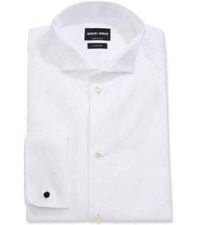 En Blanco 16 Frente El De Armani Esmoquin Babero Los Con Giorgio Hombres Camisa Para Formal 0qU7nF6