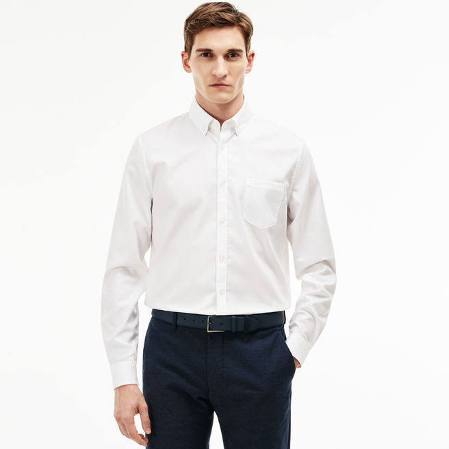 Algodón Piqué Hombre Blanco Nieve De Lacoste Camisa Fit Regular Para q50EPw