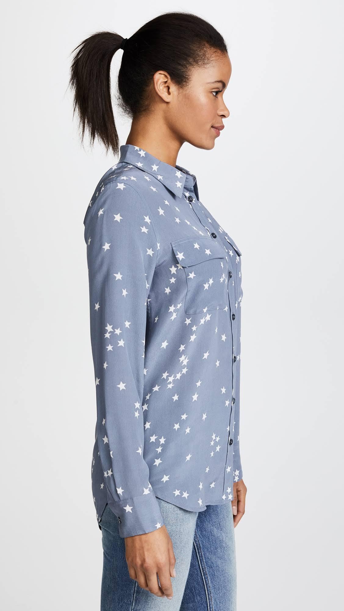 De Camisa Tormenta Estampado Con Azul Signature Equipo Slim Seda Lavada wSqRpqA