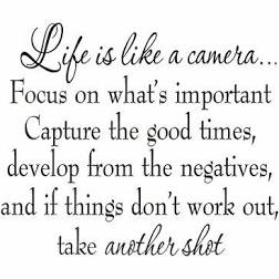"Winston Porter Drakes Life is Like a Camera Focus on What's Important Capture the Good Times Develop From the Negatives Wall Decal 18""H X 22""W"