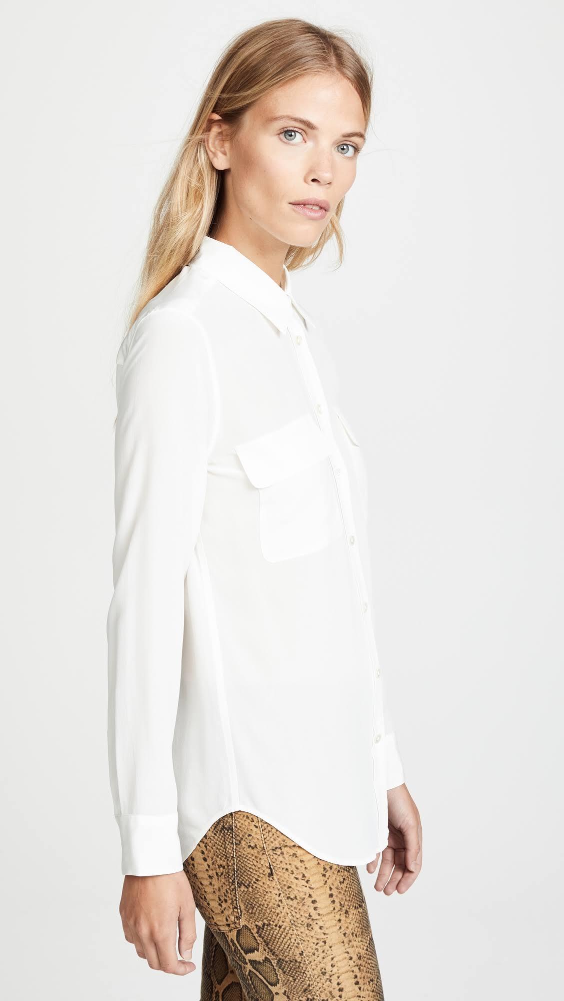 Slim Signature Naturaleza Seda Camisa Equipo Blanco L Tdgzwn5nq