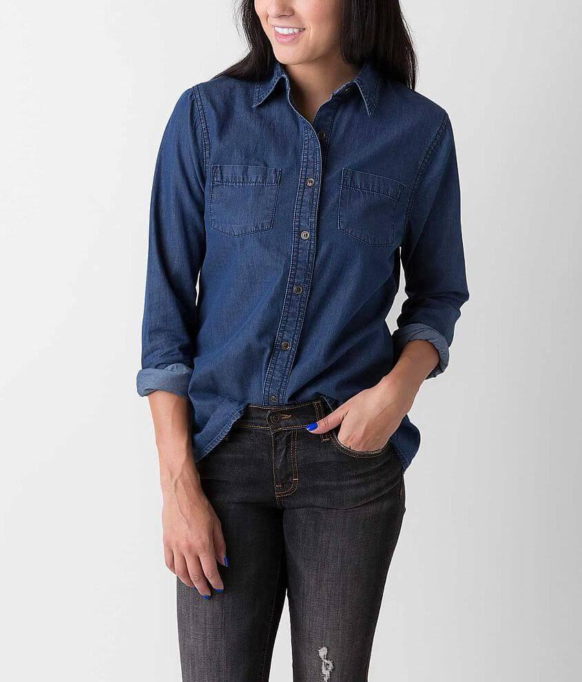 Camisa Azul De Daytrip Cambray Mujer Por En rwUpFrqI